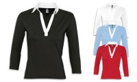 Polo donna, femminile e sportiva con collo a camicia