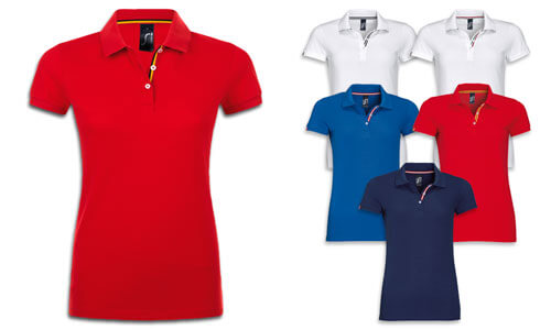 Polo donna finiture Tricolore